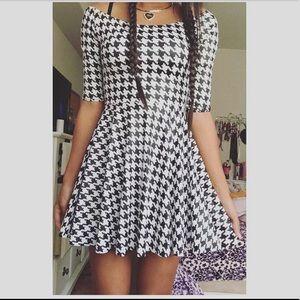 Black Milk Clothing Houndstooth Skater Dress